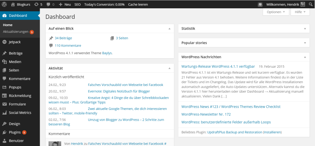 wordpress themes dashboard